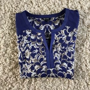 Nic & Zoe Blue / White Blouse. Size small